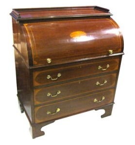 Early 20th century Irish mahogany roll top bureau est 1200/1800