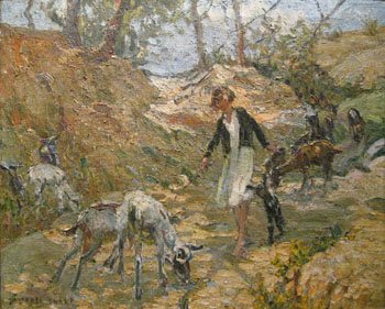 DOROTHEA SHARP [British 1875-1955] THE YOUNG GOATHERD, Oil on canvas 60cm x 74cm, signed lower left:  Hammer price: €19,400