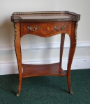 20th century French kingwood and marquetry inlaid side table on cabriole leg, having ormolu mounts and brass gallery to top est. €600/800