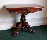 Lot 191: Victorian mahogany card table on four shoot cabriole leg pod, with carved shell to frieze, date circa 1860  est. €900/1200