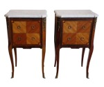 Lot 2: Pair of early 20th C French kingwood and rosewood marble topped bedside cabinets est. €800/1200
