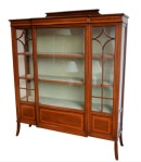 Lot 59: Very fine quality early 20th century Edwardian inlaid mahogany breakfront display cabinet  est.  €1000/1500