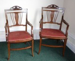 Lot 62: Pair of Edwardian mahogany & satinwood inlaid armchairs est. €500/800