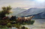 """Lot 66: 19th century oil on canvas """"Cattle grazing by lakeside"""", signed est. €300/500"""