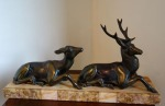 Lot 7: Bronze group of deers on marble base  est. €300/500