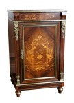 Lot 77: Very fine 19th century rosewood & marquetry inlaid pier cabinet, with marble top est. €800/1200