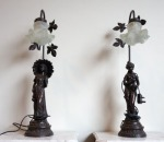 Lot 8: Unusual pair of lamps in form of two female figures  est. €200/400