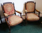 Lot 88: Pair of rosewood library armchairs, with original coverings, date circa 1900  est. €800/1200