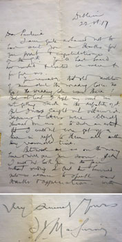 Letter from Terence McSwiney to Pauline Henley at Hegartys Auction