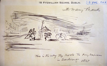 Pen and ink sketch by Jack B Yeats titled This is the way they rode the Pony Express in Earls Court in 1887