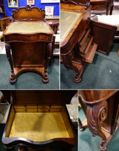 "Lot 127: A Early 19th Century, Davenport, Ladies Writing Desk, Rosewood, with a Leather Lift Top, The Right Side Panel, Opens to Reveal Pull Out Shelves, Cabriole Supports to the Front, Raised on Bun Feet, with a Carved Gallery Panel to the Back, 32""x22""x22"" Approx est. €3000/4000"