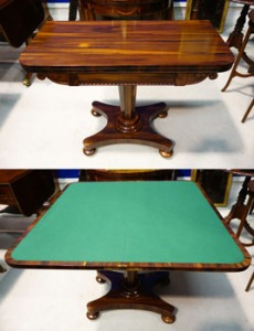 """A Very Fine, Calamander Wood, Swivel Top, Foldover, Card Table, with beaded and Scroll Decorated Freize, Raised on an Octagonal Tapering Column Support on a Platform Base raised on Bun Feet, 36""""x29.75""""x17.5"""" Approx. Hammer Price €1300"""