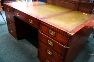 Lot 45: Extremely Fine Mahogany Partner's Desk, with Tooled Leather Top, Having Brass Bandings est. €3000/5000