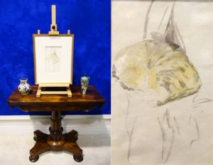 "Sketch of ""Sleeping Tabby"" by Gwen John (1876-1939), Sleeping Tabby, Circa 1905, Pencil and Wash on Paper est. €2200/4000"