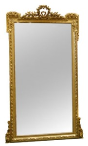 Late 19th Century, French, Giltwood, Pier Mirror, with Floral Garland Decoration, 38in x 71in Approx at Hegartys Auction on Tues 18th October est. 2000-3000 Eur