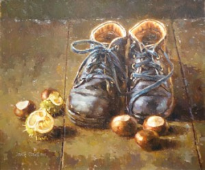 Oil on board by Mark O'Neill - Boots by the back door - signed lower left 19in x 23in at Hegartys Auction est 2000-4000Eur at Hegartys Auction on Tues 18th Oct.