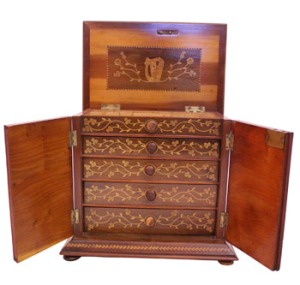 19th century Killarney arbutus wood jewellery cabinet (OPEN) at Hegartys Auction on Tues 15th Nov 2016 at 7pm Est 2500-3000 Eur