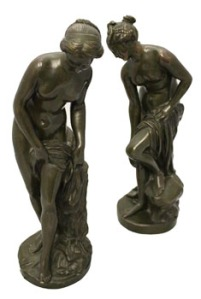 A PAIR of 19th CENTURY CAST BRONZE FIGURES, both of women bathing for Auction at Hegartys on Tues 15th Nov at 7pm Est 2200-2800 Eur