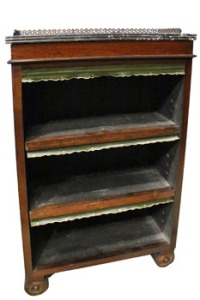 A PAIR OF UNUSUAL ROSEWOOD BOOKSHELVES, raised on two rounded turned feet and a demi lune back foot, marble topped with a raised brass gallery at Hegartys Auction on Tues 15th Nov at 7pm