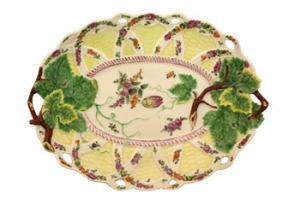 "A VERY FINE 18th CENTURY, BASKET MOULD DISH, c. 1765, with yellow ground, and raised floral leaf decoration all over, beneath is a large anchor marking and a Zorensky Collection label, this piece is featured on page 234 in the renowned ""Worcester Porcelain 1751-1792, Zorensky Collection"", book. Estimate : 1200/1300"