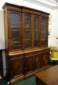 A Glazed Library Bookcase, Four Doors, Over 3 Drawers & 4 Cupboards - Price Realised €3900
