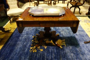 Rare and fine quality Irish rosewood and brass inlaid Regency sofa table on column base, terminating in claw feet - Price Realised €2950