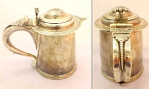 AN IRISH SILVER TANKARD, LARGE, with a beaded handle, date mark is slightly rubbed, possibly 1694/95 - Price Realised €7000