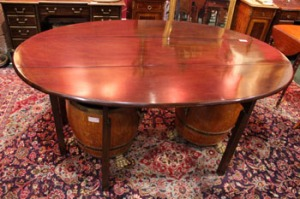 "A 18th CENTURY HUNT TABLE, with drop leaves on both sides, and a gate leg, 73""x45""x30"" approx - Price Realised €3000"