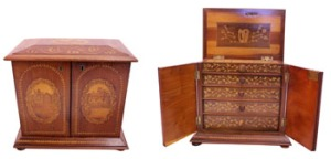 A FINE EXAMPLE of KILLARNEY WARE, A MARQUETRY ARBUTUS WOOD JEWELLERY BOX, decorated extensively with inlaid foliage and images of Killarney, including Glena Cottage which once stood by the lakes in Killarney, - Price Realised €2200