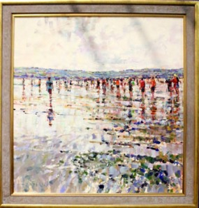 "ARTHUR K. MADERSON, ""Crossing the Cunnigar, Low Tide, Evening, Dungarvan"", oil on board, signed lower left, inscribed with title and signed verso - Price Realised: €3500"