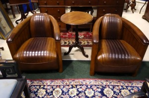 A Pair of Top Quality, Art Deco Style, Aviator Wood Framed Leather Club Chairs - Price Realised €2800
