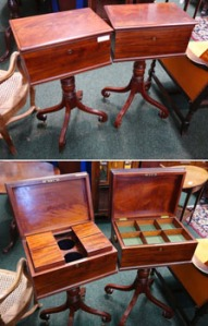 A Pair of George III Mahogany, Cabinets on Down Swept Stands, One a Tea Poy and one Similar, Both have turned cast gilded handles - Price Realised €2600