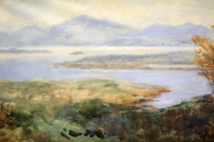 "Lot 44: ALEXANDER WILLIAMS R.H.A, ""KENMARE BAY, CO. KERRY"", watercolour on paper"