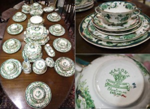 "Lot 198: A FINE MASON'S DINNER SERVICE, ""CHASTREUSE"" DESIGN, Full sitting for 10 persons, plus surplus plates/bowls, comes with Serving Dishes, ladles, salt & pepper, all in good condition"