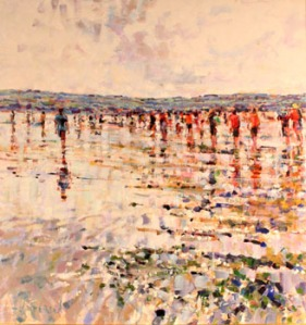 "ARTHUR K. MADDERSON, ""Crossing the Cunnigar, Low Tide, Evening, Dungarvan"", oil on board, signed lower left, inscribed with title and signed verso"