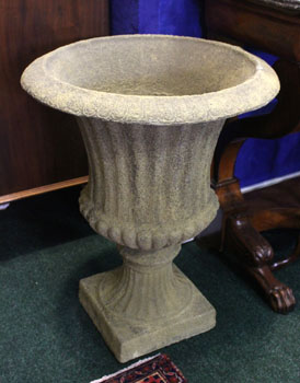 "A PAIR OF LARGE STONE URNS, 30"" high - SOLD Hammer Price €510"