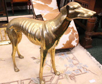 "A MID CENTURY LIFESIZE BRASS DOG, in the form of a whippet, 29""x"