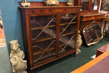 AN ASTRAGAL GLAZED 2 DOOR, FLOOR BOOKCASE, inlaid detail, with t