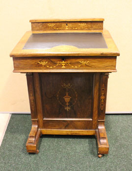 A ROSEWOOD INLAID DAVENPORT DESK, with a slopping writing panel,