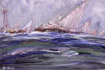 "LOT 77 - MARIE CARROLL, ""YACHT RACE BY A LIGHTHOUSE"", acrylic on"